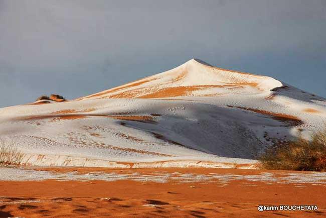 neige sahara algerie photographies 2 - Spectacle Surréaliste du Sahara Algérien Couvert de Neige (video)