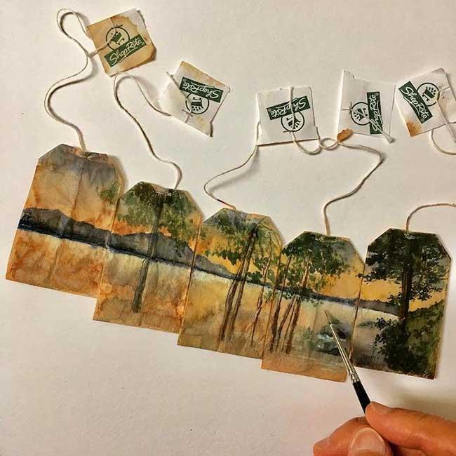 peintures miniatures sachet the ruby silvious 3 - Elle Illustre son Quotidien en Peintures Miniatures sur des Sachets de Thé Usagés