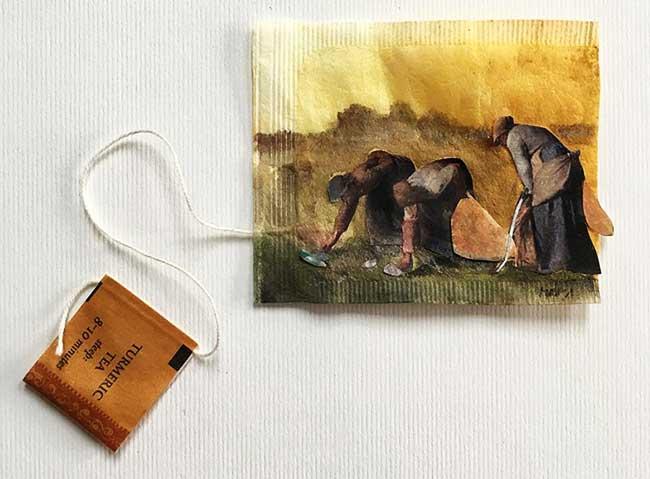 peintures miniatures sachet the ruby silvious 5 - Elle Illustre son Quotidien en Peintures Miniatures sur des Sachets de Thé Usagés