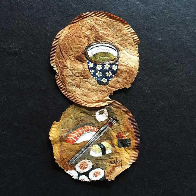 peintures miniatures sachet the ruby silvious 7 - Elle Illustre son Quotidien en Peintures Miniatures sur des Sachets de Thé Usagés