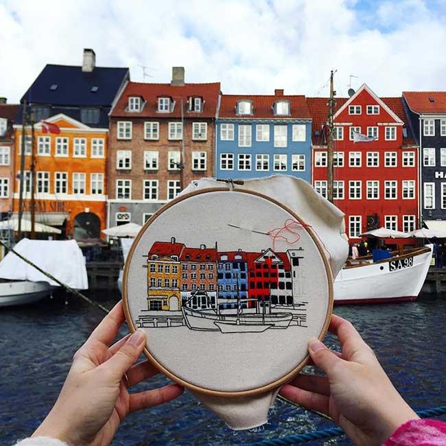 broderie architecture villes europe lekadre, Ce Couple d'Artistes Brode l'Architecture des Villes Européennes qu'il Visite
