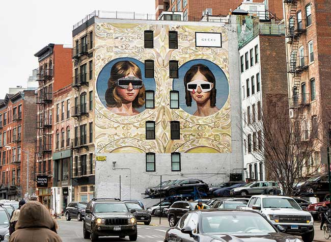 Gucci Street Art Fresques Urbaine Ignasi Monreal, Gucci Installe des Fresques Urbaines à New York et Milan