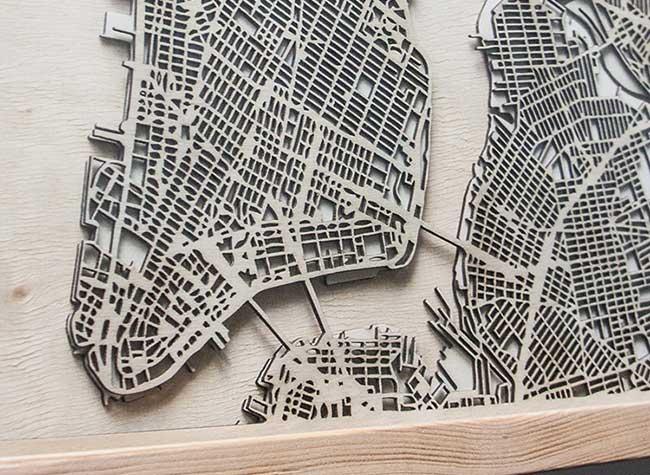indiedesigners citywood cartes 3d bois villes, Cartes en 3D des Megapoles Sculptées dans du Bois (video)