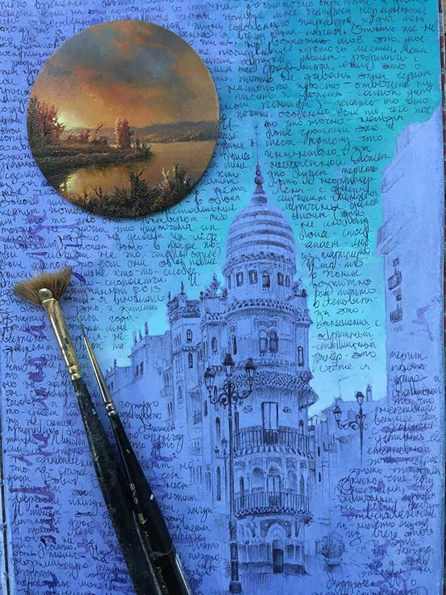 voyages peintures miniatures dina brodsky, Elle Peint ses Voyages en Bicyclette sur des Médaillons Miniatures
