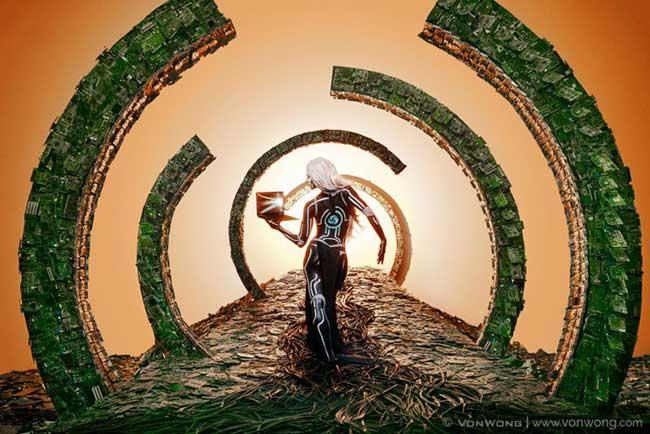 Benjamin Von Wong Photographies, Scènes Surréalistes Composées de Tonnes de Matériel Recyclé