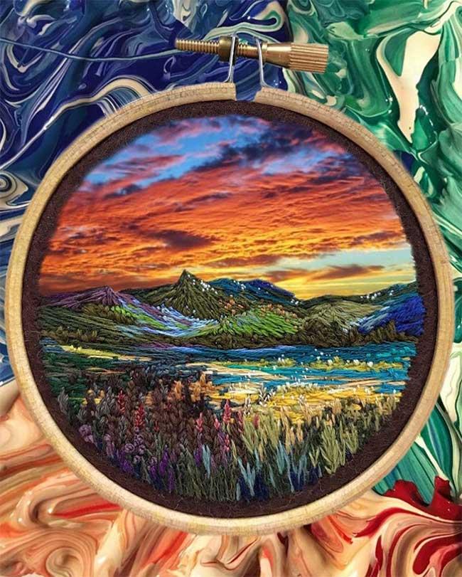 broderie art paysage vera shimunia 1 - Méticuleuses Peintures Paysagistes Entièrement Brodées