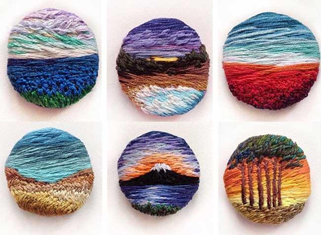 broderie art paysage vera shimunia 2 - Méticuleuses Peintures Paysagistes Entièrement Brodées