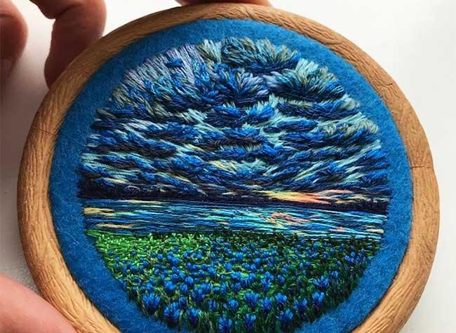 broderie art paysage vera shimunia, Méticuleuses Peintures Paysagistes Entièrement Brodées