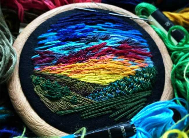broderie art paysage vera shimunia 7 - Méticuleuses Peintures Paysagistes Entièrement Brodées