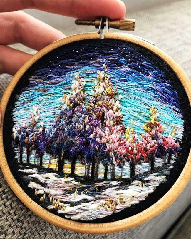 broderie art paysage vera shimunia 9 - Méticuleuses Peintures Paysagistes Entièrement Brodées