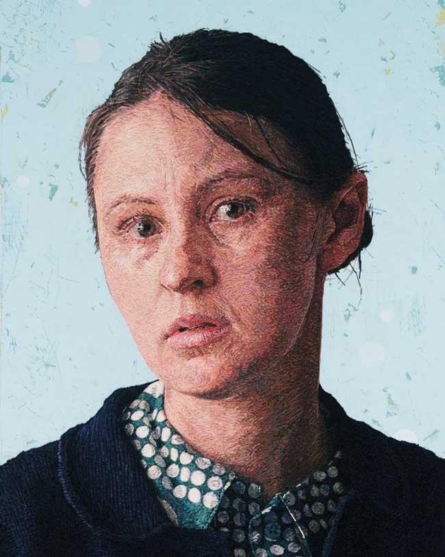 broderie realistes portraits cayce zavaglia, Telle une Peintre elle Brode des Portraits Réalistes de ses Proches