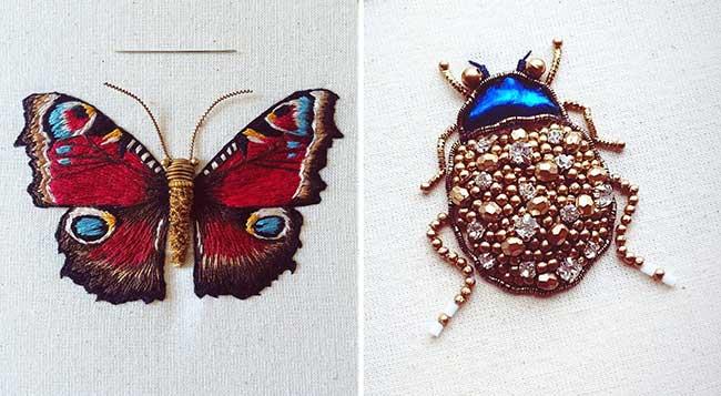 broderies insectes humayrah bint altaf, Broderies d'Insectes aux Ornementations Métalliques et Chatoyantes