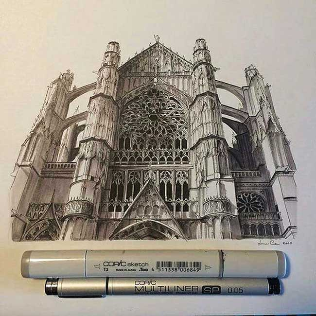 dessins architecture europe lorenzo concas, L'Architecture des Édifices Européens Illustrée aux Feutres de Précision