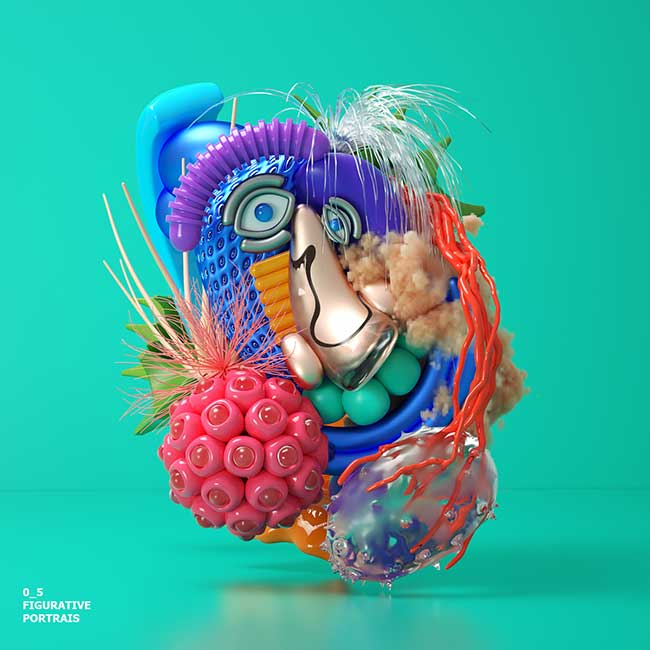 figurative portraits omar aqil 3D, Bizarres et Fascinants Portraits Abstraits Illustrés en 3D