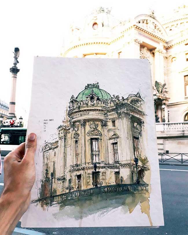juan carlos figuera aquarelle ville paris peinture