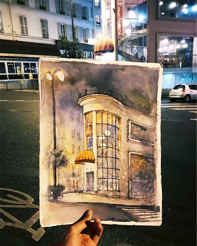 juan carlos figuera aquarelle ville paris peinture, Paris Revisitée à la Peinture Aquarelle par un Etudiant en Architecture