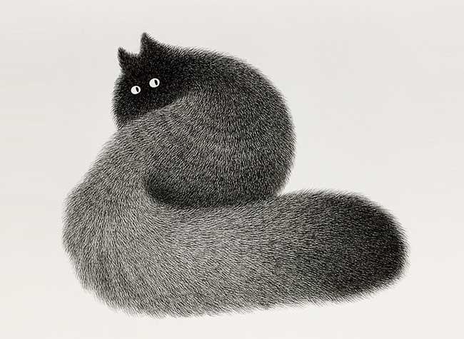 kamwei-fong-chats-noirs-dessin, Ses Illustrations de Chats à l'Encre Noire Ressemblent à des Peluches