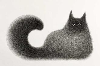 kamwei fong chats noirs dessin 7 331x219 - Ses Illustrations de Chats à l'Encre Noire Ressemblent à des Peluches