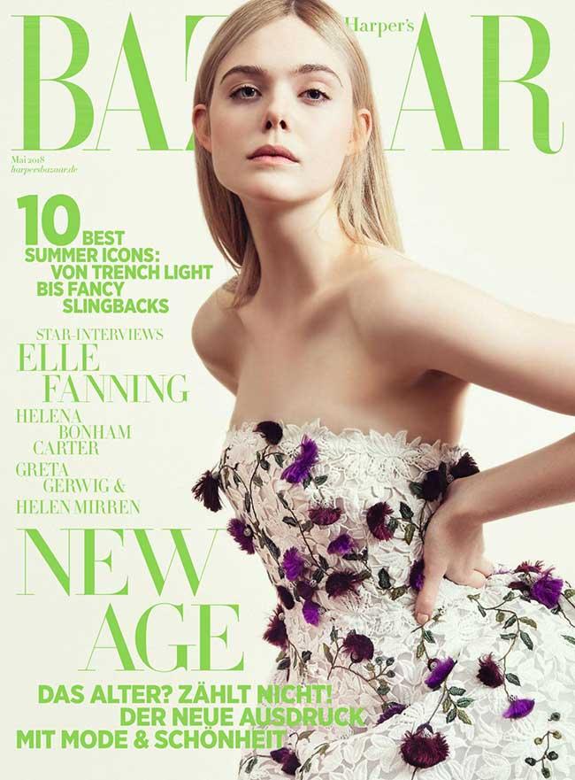 elle-fanning-harpers-bazaar-germany-robes, L'Actrice Elle Fanning Tout en Fleurs pour le Harper's Bazaar