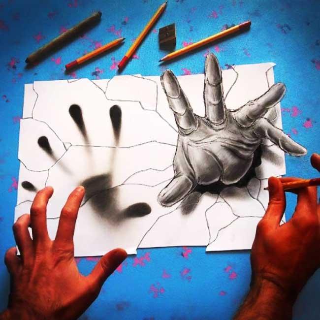 illustrations-anamorphose-ramon-bruin-3d, Phénoménales Illustrations 3D en Anamorphose Dessinées aux Crayons