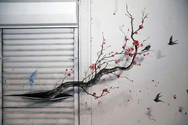 Street Art Pejac Chinatown NYC, Quand le Street Artiste Pejac Met une Touche Nature dans les Rues de Chinatown