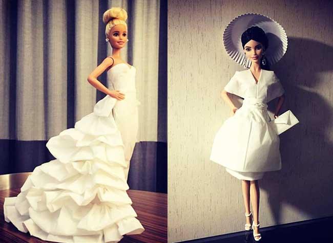 poupées barbie robes papier jian yang