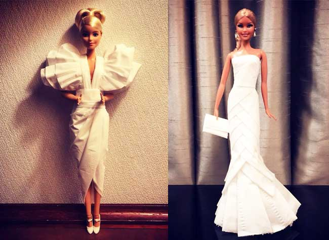 poupées barbie robes papier jian yang, Avec du Papier il Crée de Superbes Robes à ses Barbie