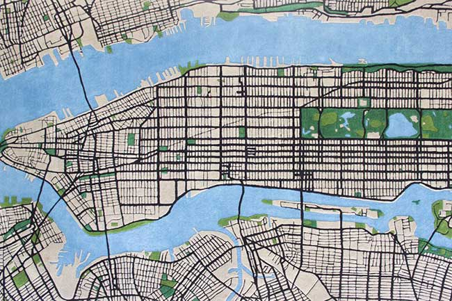 tapis new york city shift perspective manhattan 3d, Sur ce Tapis 3D vous Allez Traverser le Quartier de Manhattan à NYC