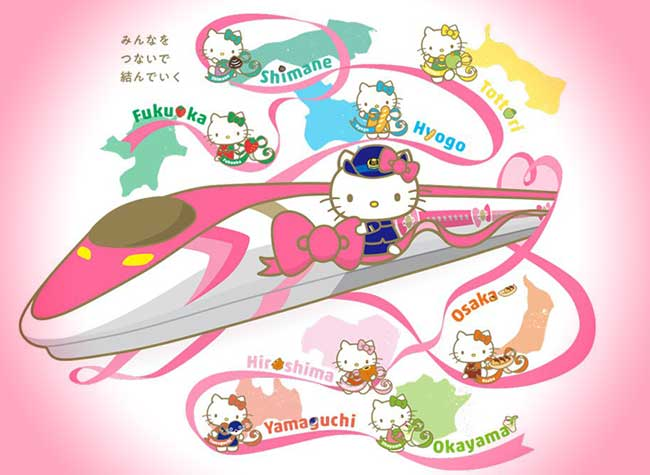 chat hello kitty train japon shinkansen, Au Japon Hello Kitty a sa Ligne de Train à Grande Vitesse (video)