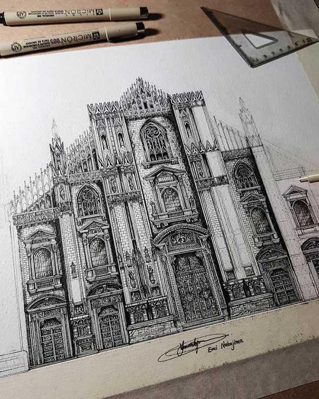 dessins encre architecture details emi nakajima, Elle Dessine à l'Encre des Monuments aux Détails Impressionnants