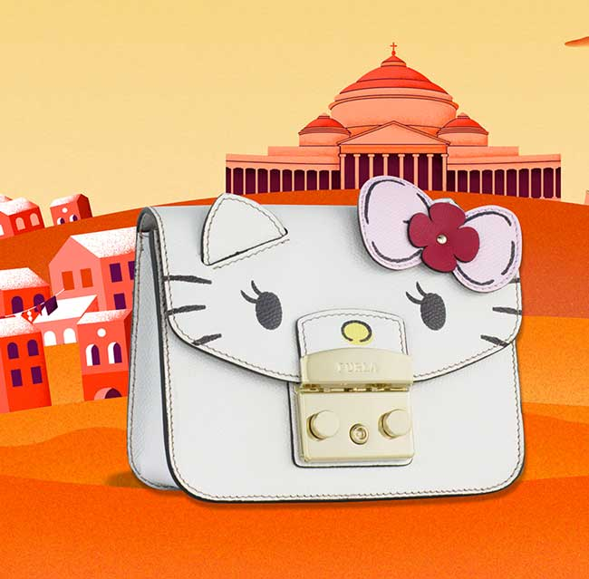 furla hello kitty, Le Chat Hello Kitty sur les très Chics Sacs Furla