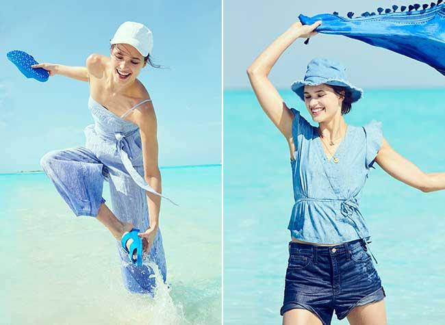 jcrew femme bleu plage ete 2018, La Femme J Crew passe l'Eté tout en Nuances de Bleu
