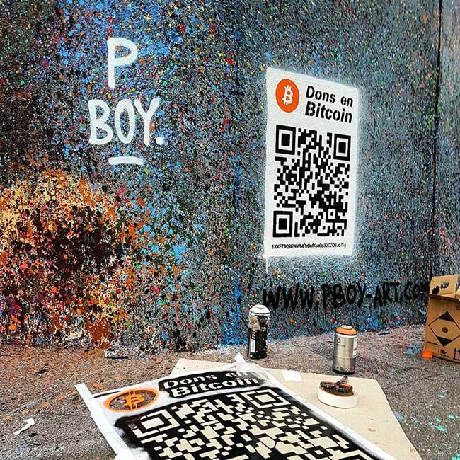 pascal boyart pboy street art code qr bitcoin, Avec un Code QR Bitcoin ses Fresques Urbaines lui Rapportent 1000 $