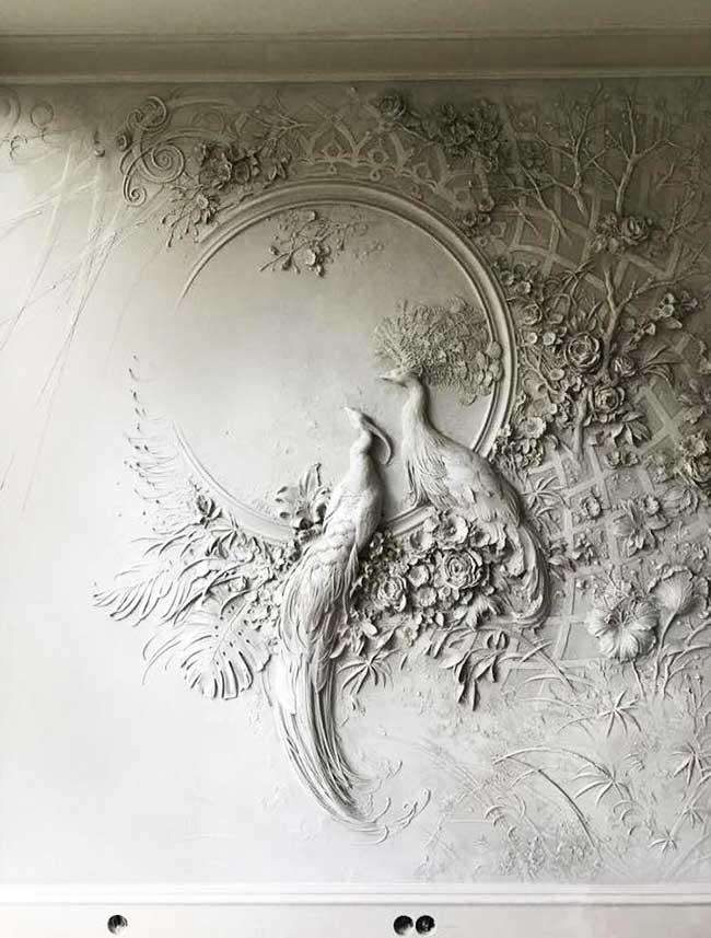 fresques bas reliefs, Fresques Murales Bas-Reliefs de Scènes de Nature