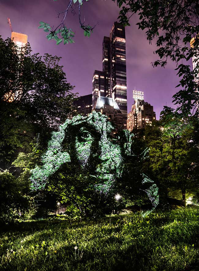street art projection lumiere portraits new york, Gigantesques Portraits d'Inconnus Projetés sur Central Park à New York