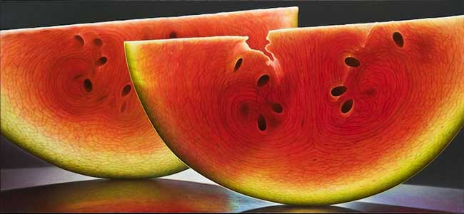 dennis wojtkiewicz peintures photo realiste fruits