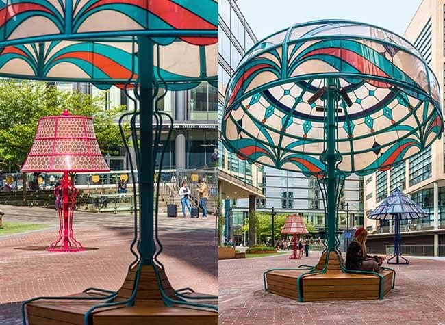 lampes geantes manchester arcylicize installation art 2 - Lampes de Bureau Géantes dans les Rues de Manchester