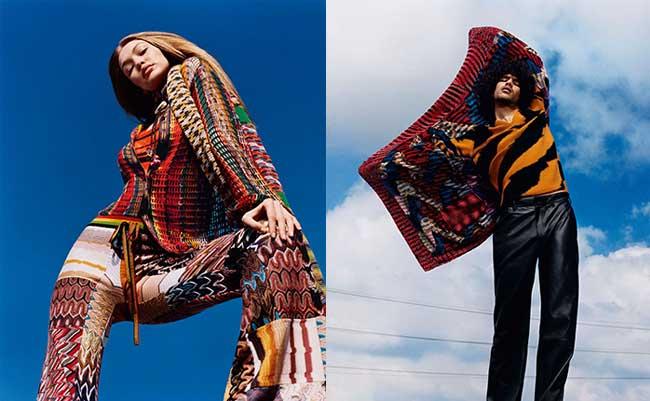 missoni campagne homme femme hiver 2018 2019, L'Hiver sera Hippie et Chic Pour Missoni Femme et Homme
