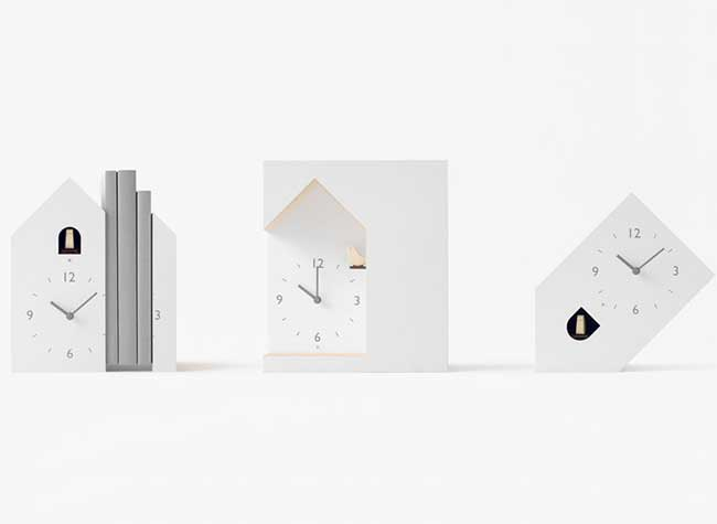 nendo pendule coucou horloge moderne design, Pendules à Coucou Moderne au Design Reversant