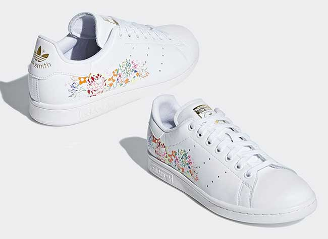 buy popular 29e90 53b26 baskets adidas stan smith fleurs brodees