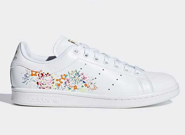 Adidas original stan smith fleurs baroque flower Noir
