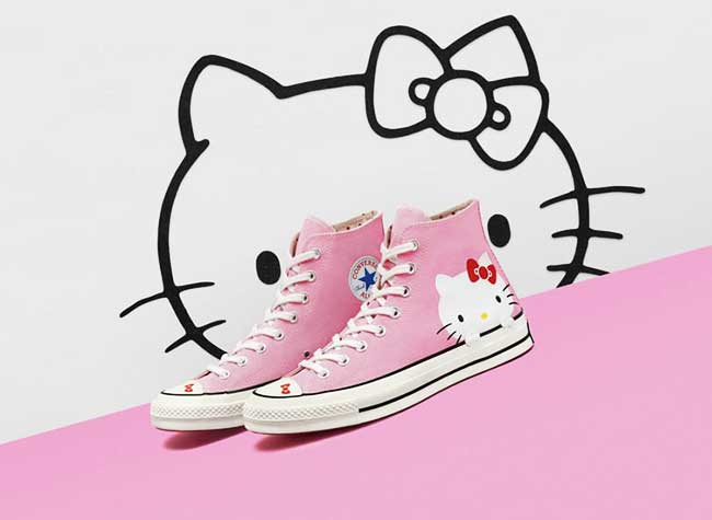 converse hello kitty baskets femme enfants, Converse x Hello Kitty, les Baskets Girly de la Rentrée