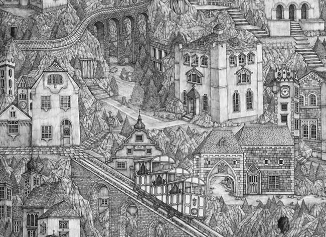 dessins encre olivia kemp malte baviere 2 - Paysages de Malte et de Bavière Méticuleusement Illustrés à l'Encre