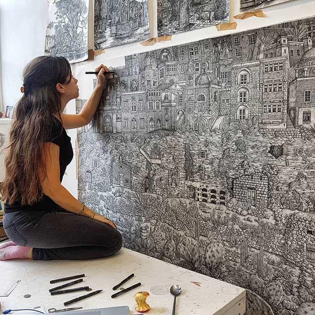 dessins encre olivia kemp malte baviere 3 - Paysages de Malte et de Bavière Méticuleusement Illustrés à l'Encre