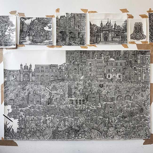 dessins encre olivia kemp malte baviere 4 - Paysages de Malte et de Bavière Méticuleusement Illustrés à l'Encre