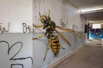 street art insectes anamorphose 3d realiste