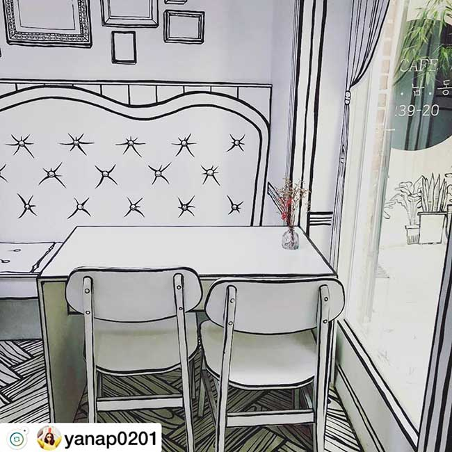 cafe deux dimension 2d salon the seoul yeonnam dong 5 - Salon de Thé Minimaliste pour Prendre son Café en 2D