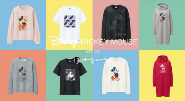 collection uniqlo disney mickey mouse andy warhol, Uniqlo Affiche le Mickey d'Andy Warhol sur sa Collection
