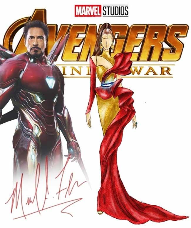 illustrations michael anthony costumes avenger robe, Les Costumes des Avengers Revisités en Robes de Soirée