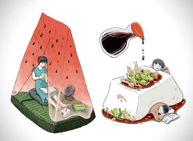 illustrations nourriture reve maruimichi 1 - Ces Illustrations Surréalistes Mêlent Nourriture et Scènes Quotidiennes